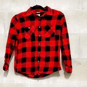 Red and black cotton checkered button down